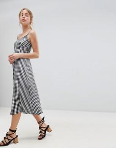 Платье миди в стиле 90-х в клетку с пуговицами Hollister - Мульти