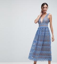Кружевное платье миди Boohoo - Синий