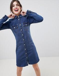 Джинсовое платье-рубашка в стиле вестерн Esprit - Синий