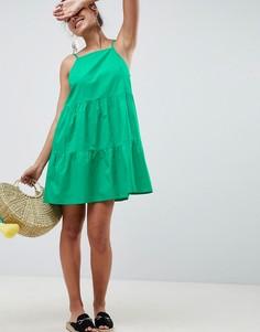 Хлопковый сарафан мини ASOS DESIGN - Зеленый