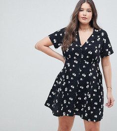 Короткое приталенное платье на пуговицах с цветочным принтом ASOS DESIGN Curve - Мульти