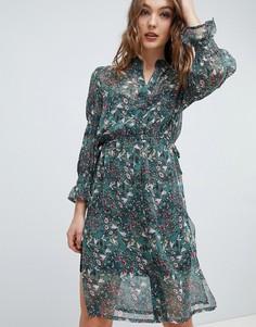 Платье-рубашка с принтом Influence - Зеленый