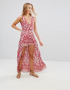 Платье макси с цветочным принтом и шортами Parisian - Красный
