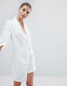 Платье в стиле смокинга с асимметричным подолом и присборенными рукавами Vesper - Белый