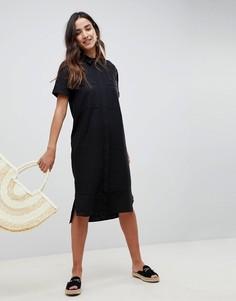 Платье-рубашка миди в стиле casual ASOS - Черный