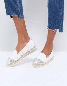 Белые кожаные эспадрильи с серебристым носком Dune - Белый