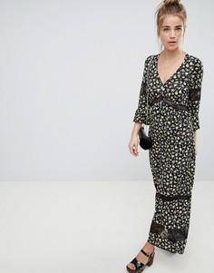 Чайное платье макси с кружевными вставками и цветочным принтом ASOS DESIGN - Мульти