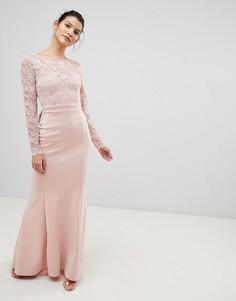 Платье макси с кружевным топом и бантом City Goddess - Розовый