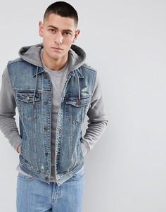 Серая выбеленная джинсовая куртка с капюшоном Hollister - Синий
