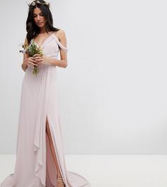 Платье макси с запахом и открытыми плечами TFNC Tall - Коричневый