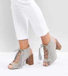 Босоножки на каблуке для широкой стопы со шнуровкой ASOS TONIC - Серый