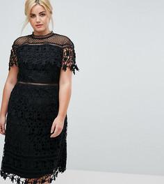 Кружевное платье миди с высоким воротником Chi Chi London Plus - Черный