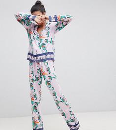 Классическая пижама с рубашкой и брюками из 100% модала с тропическим принтом ASOS DESIGN Tall - Мульти