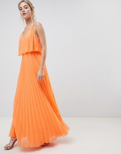 Плиссированное платье макси с укороченным топом ASOS DESIGN - Оранжевый