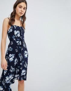 Платье миди с цветочным принтом и кружевной отделкой Hollister - Синий