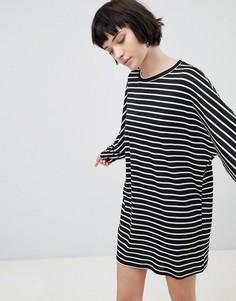 Трикотажное платье-туника в полоску New Look - Черный