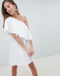 Асимметричное платье-кейп на одно плечо ASOS DESIGN - Кремовый