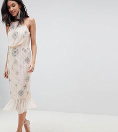 Платье-футляр на бретельках и с декоративной отделкой ASOS DESIGN Tall - Розовый