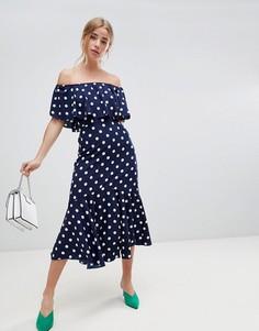 Платье миди в горошек с открытыми плечами Influence - Темно-синий