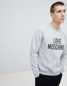 Свитер с тисненым логотипом Love Moschino - Серый