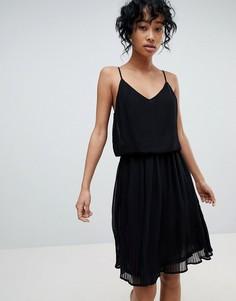 Плиссированное платье-комбинация Pieces - Черный