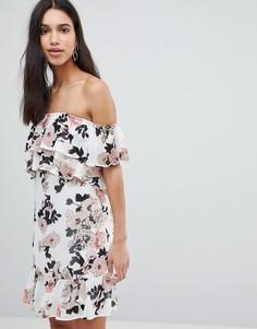 Платье мини с открытыми плечами и цветочным принтом Parisian - Белый
