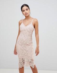 Кружевное платье миди на бретелях AX Paris - Розовый