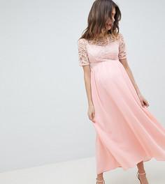 Платье макси с высоким воротом и кружевным лифом Queen Bee - Розовый