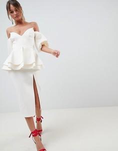 Платье миди с рукавами-фонарик ASOS DESIGN - Кремовый