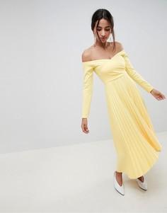 Платье миди с плиссировкой и открытыми плечами ASOS DESIGN - Желтый