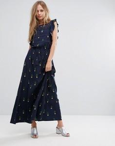 Платье макси с принтом кактусов Liquorish - Темно-синий