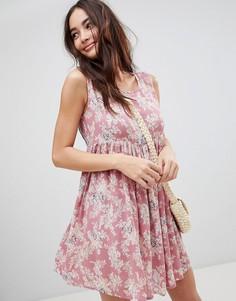 Свободное платье с винтажным цветочным принтом Brave Soul Faye - Розовый