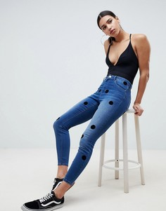 Темные джинсы скинни с завышенной талией ASOS DESIGN Ridley - Синий