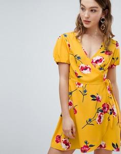Платье с цветочным принтом и запахом Influence - Желтый