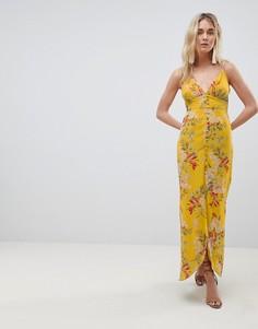Платье макси на пуговицах и бретельках с цветочным принтом Hope & Ivy - Мульти