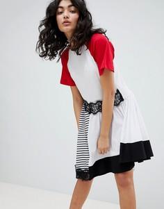 Платье с полосками и кружевом ASOS DESIGN - Мульти