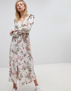 Чайное платье макси на пуговицах с цветочным принтом New Look - Мульти