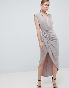 Платье миди с высоким разрезом и глубоким декольте Forever Unique - Светло-бежевый
