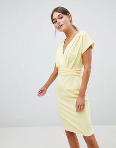 Плиссированное платье-кимоно Paper Dolls - Желтый