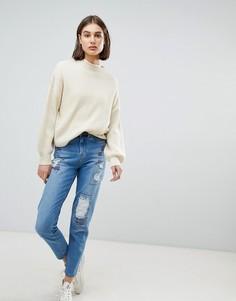 Состаренные джинсы в винтажном стиле с вышивкой Waven Elsa - Синий