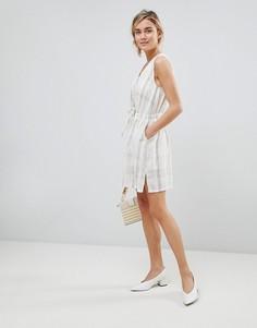 Платье в клетку с поясом See U Soon - Серый