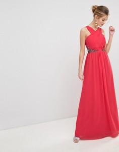 Шифоновое платье макси с декоративной отделкой Little Mistress - Красный