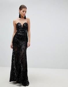 Платье-бандо макси с пайетками Girl In Mind - Черный