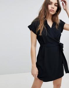 Платье-рубашка мини с короткими рукавами Monki - Черный