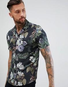 Рубашка классического кроя из вискозы с цветочным принтом ASOS DESIGN - Черный
