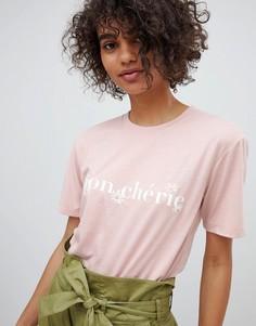 Свободная футболка с принтом Mon Cherie Neon Rose - Розовый