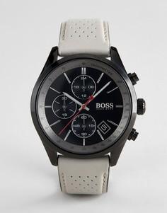Часы с хронографом и коричневым кожаным ремешком BOSS 1513562 Grand Prix - Коричневый