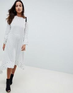 Мягкое платье-трапеция миди в горошек с баской ASOS DESIGN - Мульти