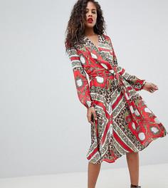 Платье миди с запахом Flounce London Tall - Мульти
