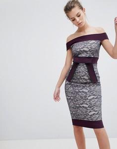 Кружевное платье с контрастной отделкой Vesper - Серый